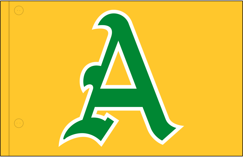 Kansas City Athletics Logo Jersey Logo (1963) - Green and white A on gold, worn on Kansas City A's home and road gold jersey in 1963 SportsLogos.Net