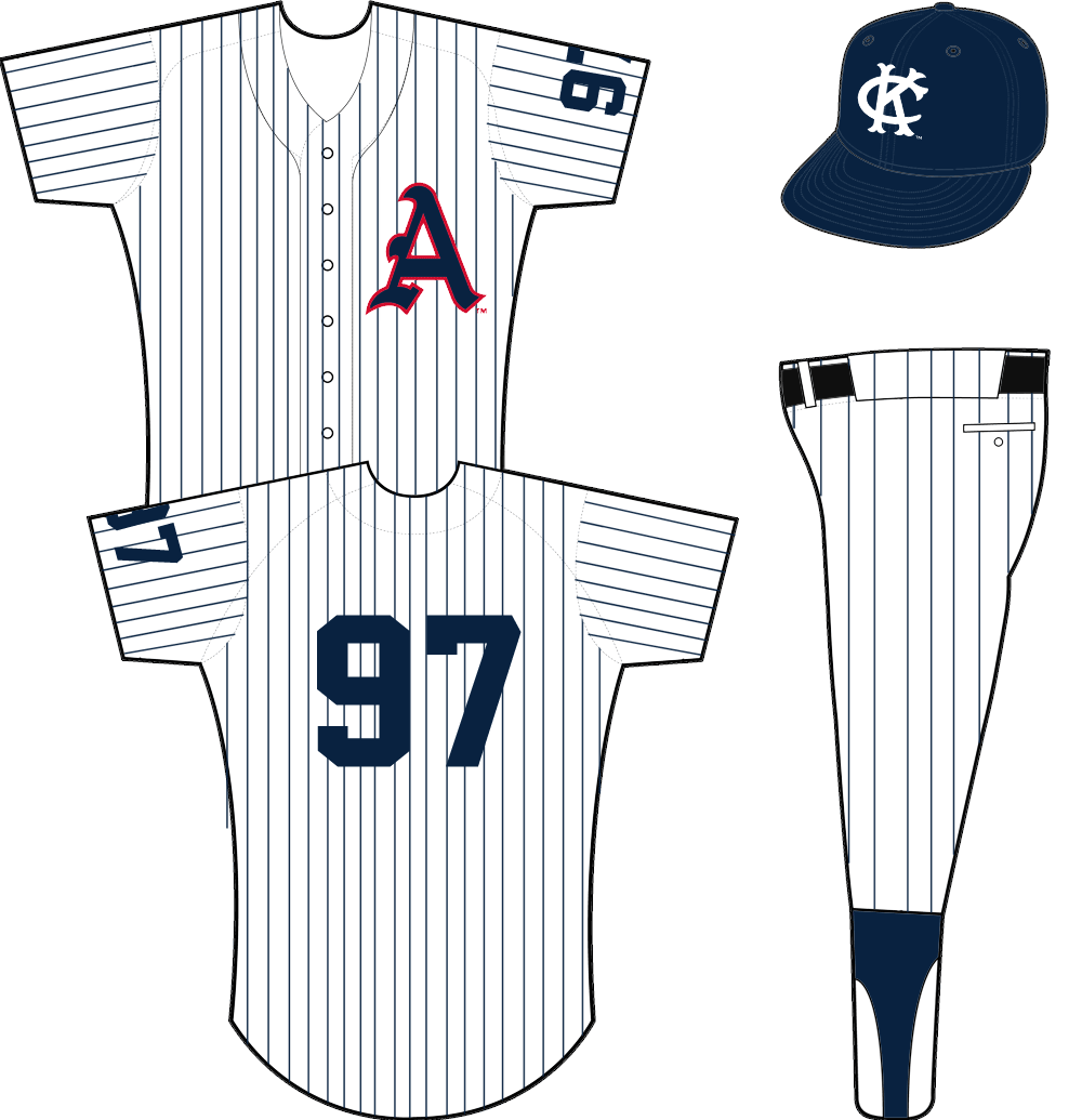 Kansas City Athletics Uniform Home Uniform (1961) - Blue A with red outline on a white uniform with blue pinstripes, player number on right sleeve. SportsLogos.Net