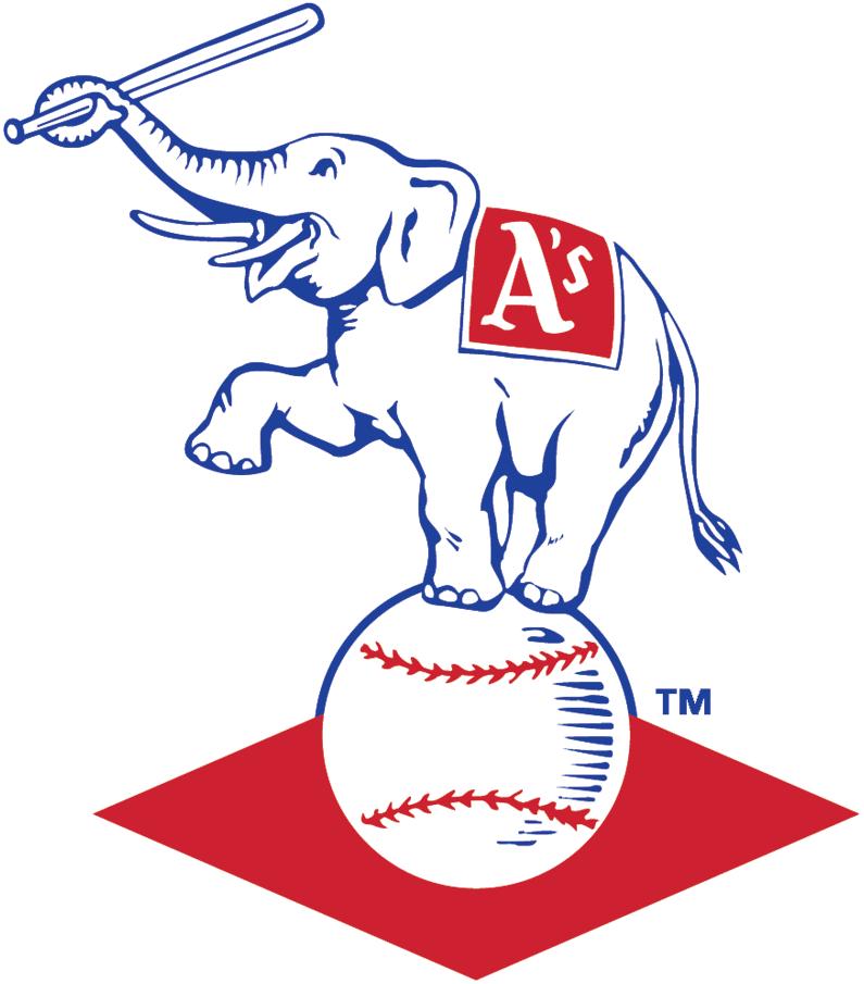 Kansas City Athletics Logo Primary Logo (1955-1967) - Elephant with bat balanced on baseball with red diamond SportsLogos.Net