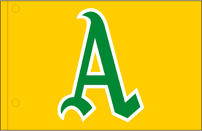 Kansas City Athletics Logo Jersey Logo (1964-1967) - Green and white A on gold, worn on Kansas City A's home and road jerseys from 1964 to 1967 SportsLogos.Net