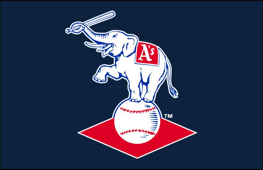 Kansas City Athletics Logo Primary Dark Logo (1955-1962) - Kansas City A's elephant logo on navy blue background SportsLogos.Net