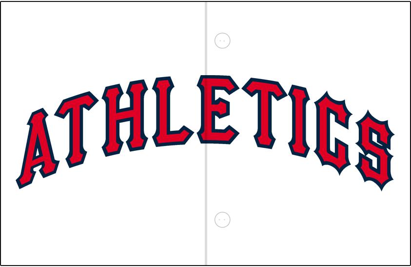 Kansas City Athletics Logo Jersey Logo (1962) - Athletics arched in red with navy blue trim on white, worn on Kansas City A's home jersey in 1962 SportsLogos.Net
