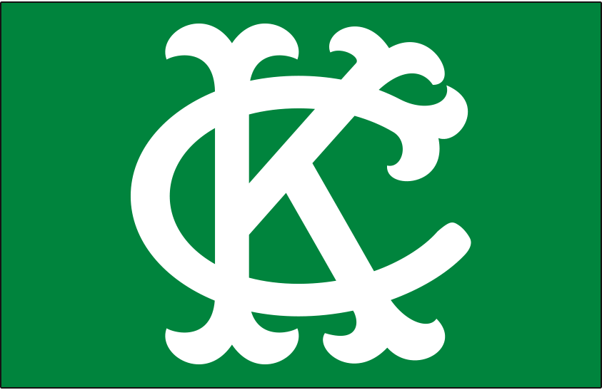 Kansas City Athletics Logo Cap Logo (1965-1967) - Interlocked KC in white on a kelly green cap, worn by the Kansas City A's at home and on the road from 1965 to 1967 SportsLogos.Net