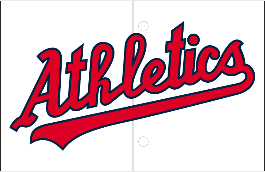 Kansas City Athletics Logo Jersey Logo (1955-1960) - Athletics scripted in red trimmed in navy blue on white, worn on Kansas City A's home jersey from 1955 to 1960 SportsLogos.Net