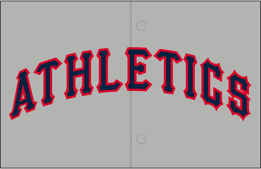 Kansas City Athletics Logo Jersey Logo (1962) - Athletics arched in navy blue trimmed in red on grey, worn on Kansas City A's road jersey in 1962 SportsLogos.Net