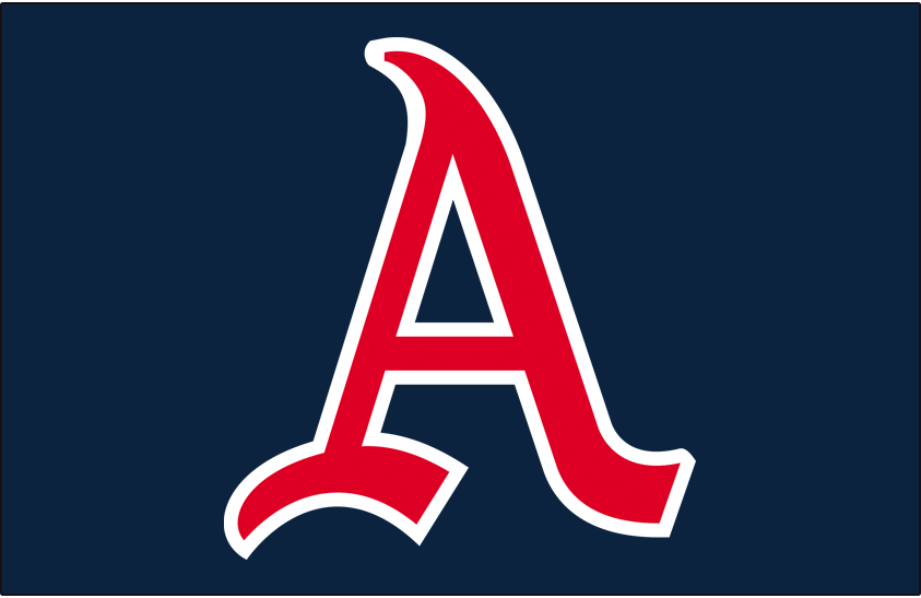 Kansas City Athletics Logo Cap Logo (1955-1959) - Red A trimmed in white on a navy blue cap, worn by the Kansas City A's caps both at home and on the road from 1955 to 1959 SportsLogos.Net