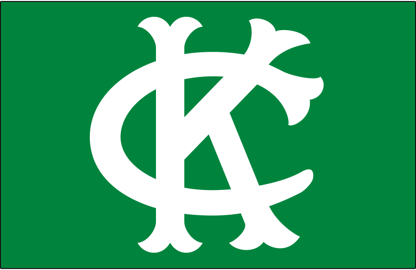 Kansas City Athletics Logo Cap Logo (1963-1964) - Interlocked KC in white on a kelly green cap, worn by the Kansas City A's at home and on the road only in 1963 and 1964 SportsLogos.Net
