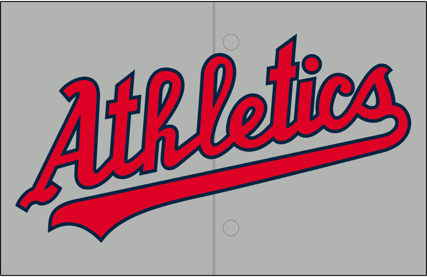 Kansas City Athletics Logo Jersey Logo (1955-1960) - Athletics scripted in red trimmed in navy blue on grey, worn on Kansas City A's road jersey from 1955 to 1960 SportsLogos.Net