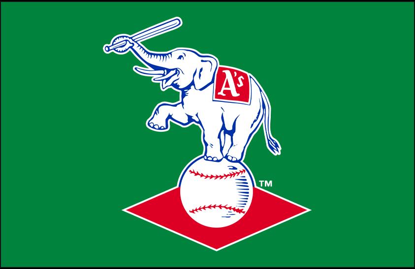 Kansas City Athletics Logo Primary Dark Logo (1963-1967) - Kansas City A's elephant logo on kelly green background SportsLogos.Net