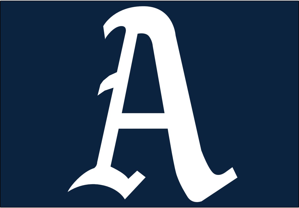 Philadelphia Athletics Logo Cap Logo (1951-1953) - A white A on a navy blue background, worn on both the A's home and road caps from 1951-1953 SportsLogos.Net