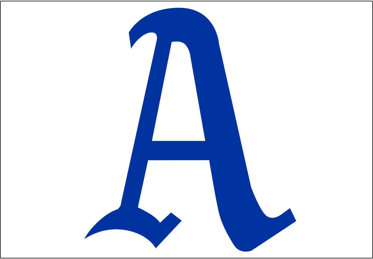 Philadelphia Athletics Logo Cap Logo (1929-1941) - Blue A on a white background. Worn on the Philadelphia A's home caps from 1929-1941 SportsLogos.Net