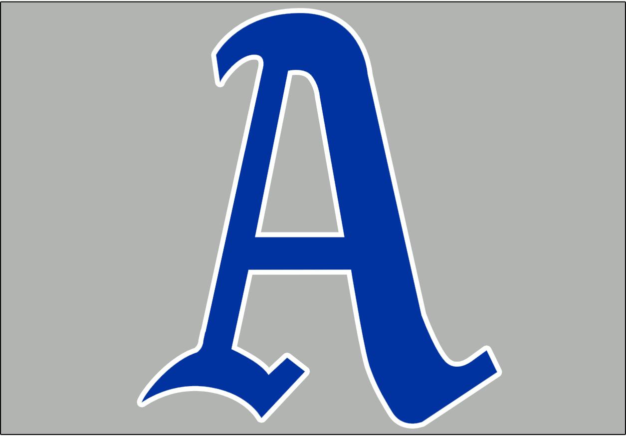 Philadelphia Athletics Logo Jersey Logo (1928-1949) - Blue A with white trim on grey background, worn on the Philadelphia Athletics road jersey from 1928-49 SportsLogos.Net