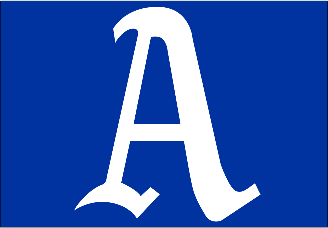 Philadelphia Athletics Logo Cap Logo (1931-1949) - A white A on a blue background. Worn on the Philadelphia Athletics road caps from 1931-1941, starting with 1942 season the A's started wearing their blue cap for both home and road games. SportsLogos.Net
