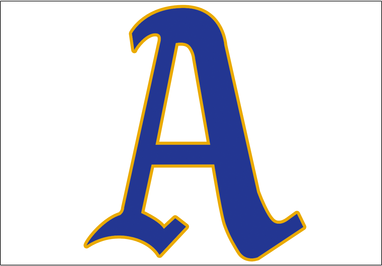 Philadelphia Athletics Logo Jersey Logo (1950) - A blue A with a gold outline on a white background, worn on the front of the Athletics home jersey during the 1950 season -  gold was added to celebrate the golden 50th anniversary of manager Connie Mack's first season with the A's SportsLogos.Net