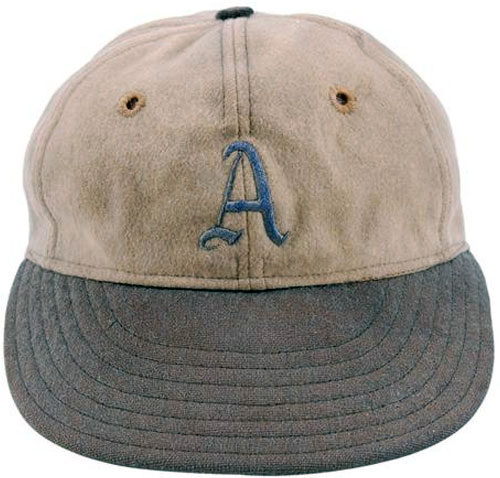 Philadelphia Athletics Game-Worn Cap Photo Cap Photo (1929-1941) - Photo of a Philadelphia Athletics game worn white cap with blue A and blue bill. This style of design was worn by the team at home only from 1929-1941 SportsLogos.Net