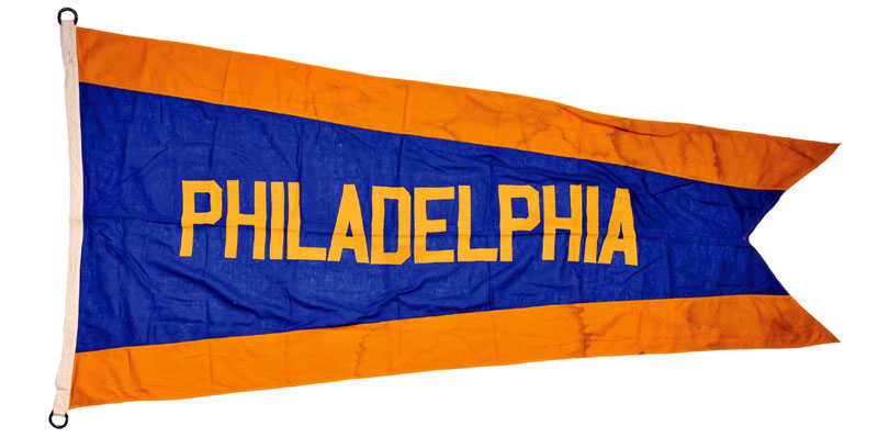 Philadelphia Athletics Pennant Pennant (1950) - A Philadelphia Athletics blue and gold pennant flown in Shibe Park during the 1950 season. The gold was added to the teams identity that one season to honour the golden anniversary of manager Connie Mack managing the club SportsLogos.Net
