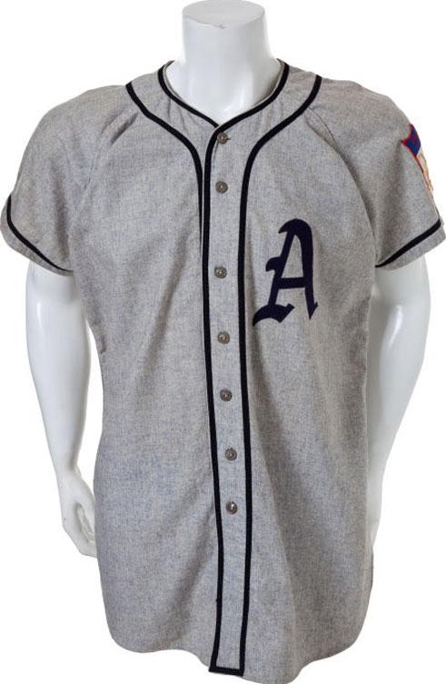 Philadelphia Athletics Game-Worn Jersey Photo Jersey Photo (1951-1953) - Game worn Philadelphia Athletics road jersey, style used from 1951-53 SportsLogos.Net