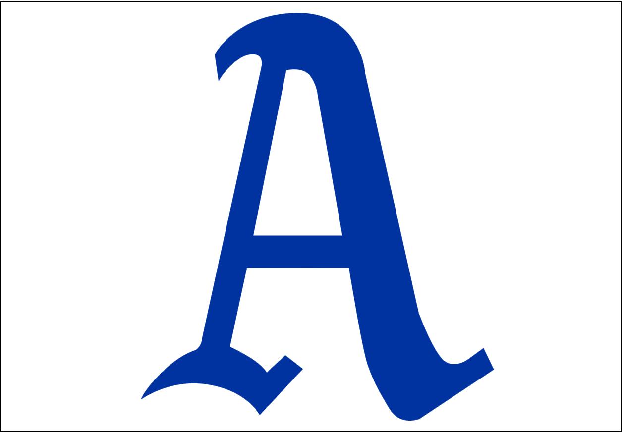 Philadelphia Athletics Logo Jersey Logo (1928-1949) - Blue A on white background, worn on the Philadelphia Athletics home jersey from 1928-49 SportsLogos.Net