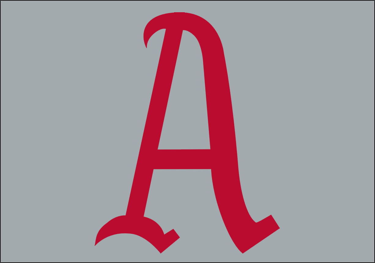 Philadelphia Athletics Logo Jersey Logo (1905-1908) - A red A on a grey background, worn on the front of the Philadelphia A's road jersey from 1905-1908 SportsLogos.Net