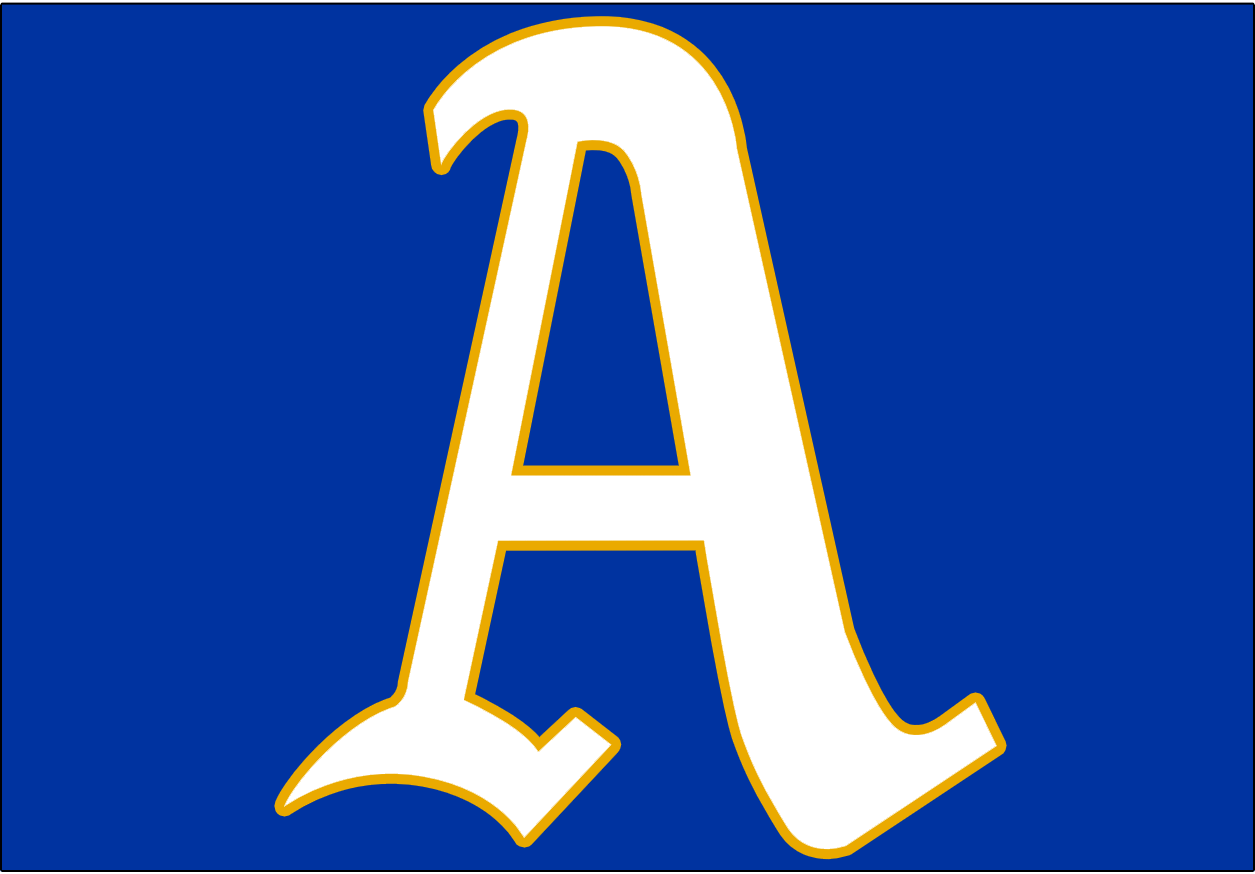 Philadelphia Athletics Logo Cap Logo (1950) - A white A with a gold outline on blue background, worn for only one season to celebrate the golden 50th anniversary of manager Connie Mack's first season with the A's SportsLogos.Net