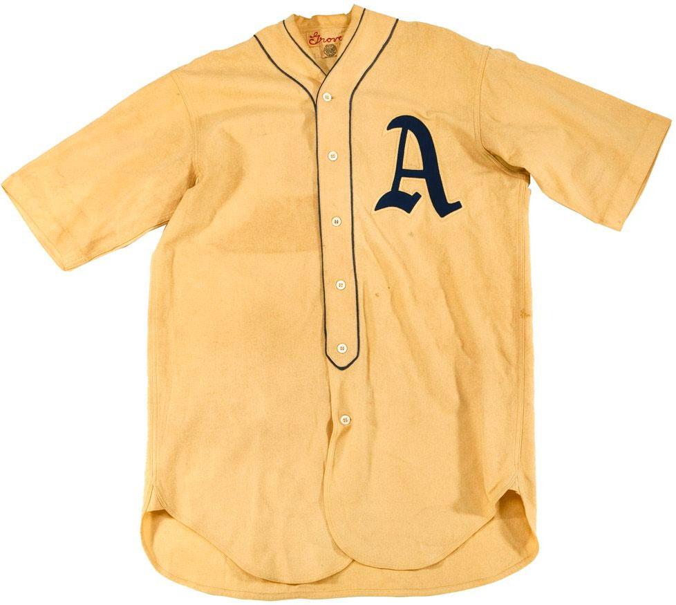 Philadelphia Athletics Game-Worn Jersey Photo Jersey Photo (1929-1938) - Game worn Philadelphia Athletics home jersey, style used from 1929-38 SportsLogos.Net