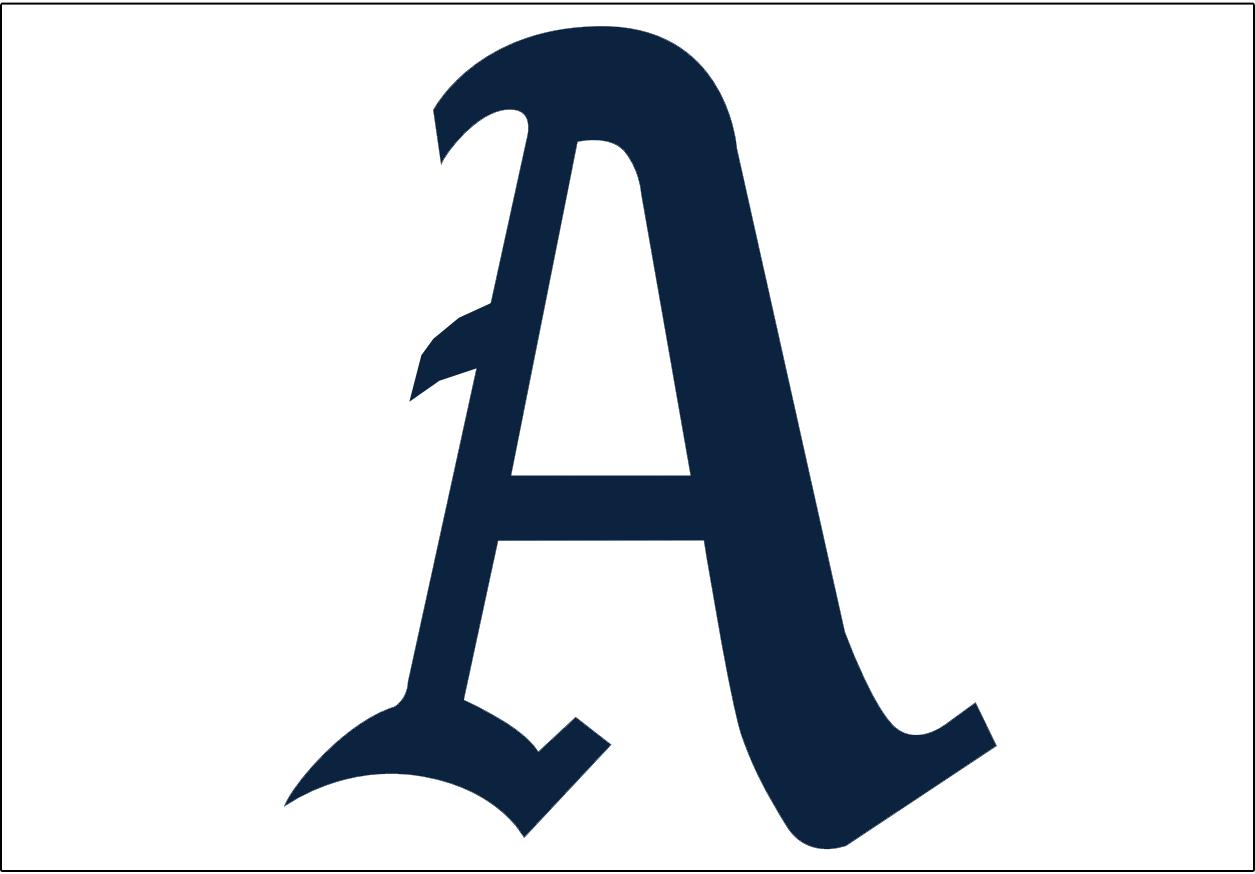 Philadelphia Athletics Logo Jersey Logo (1951-1953) - A blue A on a white background, worn on the Philadelphia Athletics home uniform from 1951-53 SportsLogos.Net