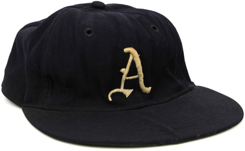 Philadelphia Athletics Game-Worn Cap Photo Cap Photo (1951-1953) - Photo of a Philadelphia Athletics game worn blue cap with white A. This style of design was worn by the team from 1951-53 SportsLogos.Net