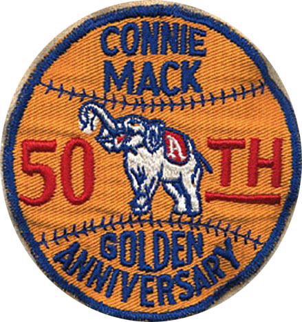 Philadelphia Athletics Logo Anniversary Logo (1950) - Connie Mack 50th Anniversary patch worn on Philadelphia Athletics jerseys to celebrate the 50th season that Connie Mack was manager of the team SportsLogos.Net