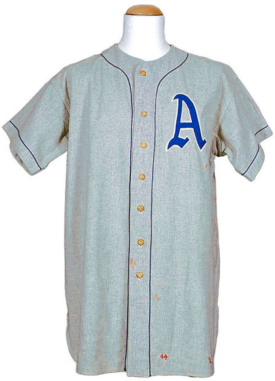Philadelphia Athletics Game-Worn Jersey Photo Jersey Photo (1928-1949) - Game worn jersey, style worn by Philadelphia Athletics on the road from 1928-49 SportsLogos.Net