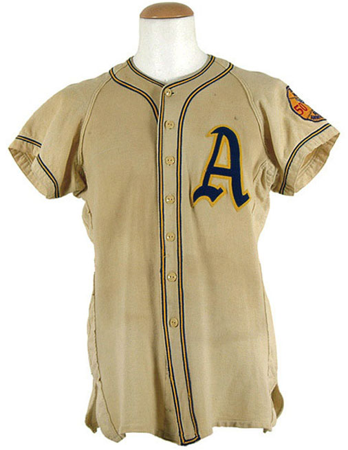 Philadelphia Athletics Game-Worn Jersey Photo Jersey Photo (1950) - Philadelphia Athletics game worn jersey from 1950 season, a blue A trimmed in gold in honour of manager Connie Mack and his 50th season managing the club -- which was also the 50th season for the Athletics franchise SportsLogos.Net