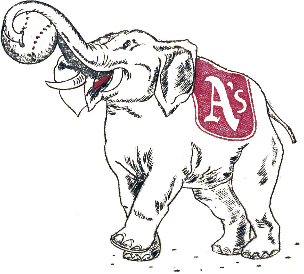 Philadelphia Athletics Logo Primary Logo (1939-1953) - An Elpehant with a baseball in its trunk and and a A's on a blue sheet SportsLogos.Net