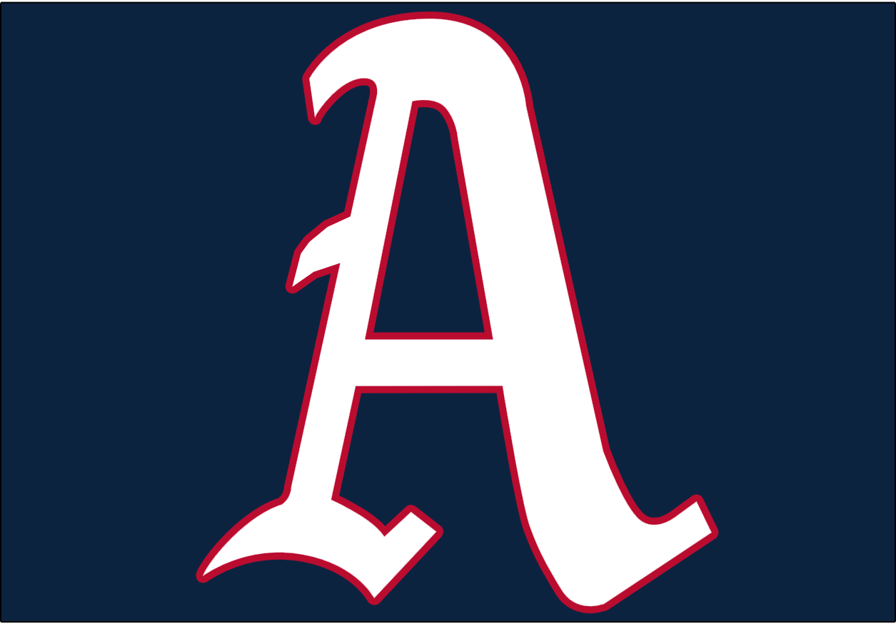 Philadelphia Athletics Logo Cap Logo (1954) - A white A outlined in red on a navy blue background, worn on both the A's home and road caps during the 1954 season SportsLogos.Net