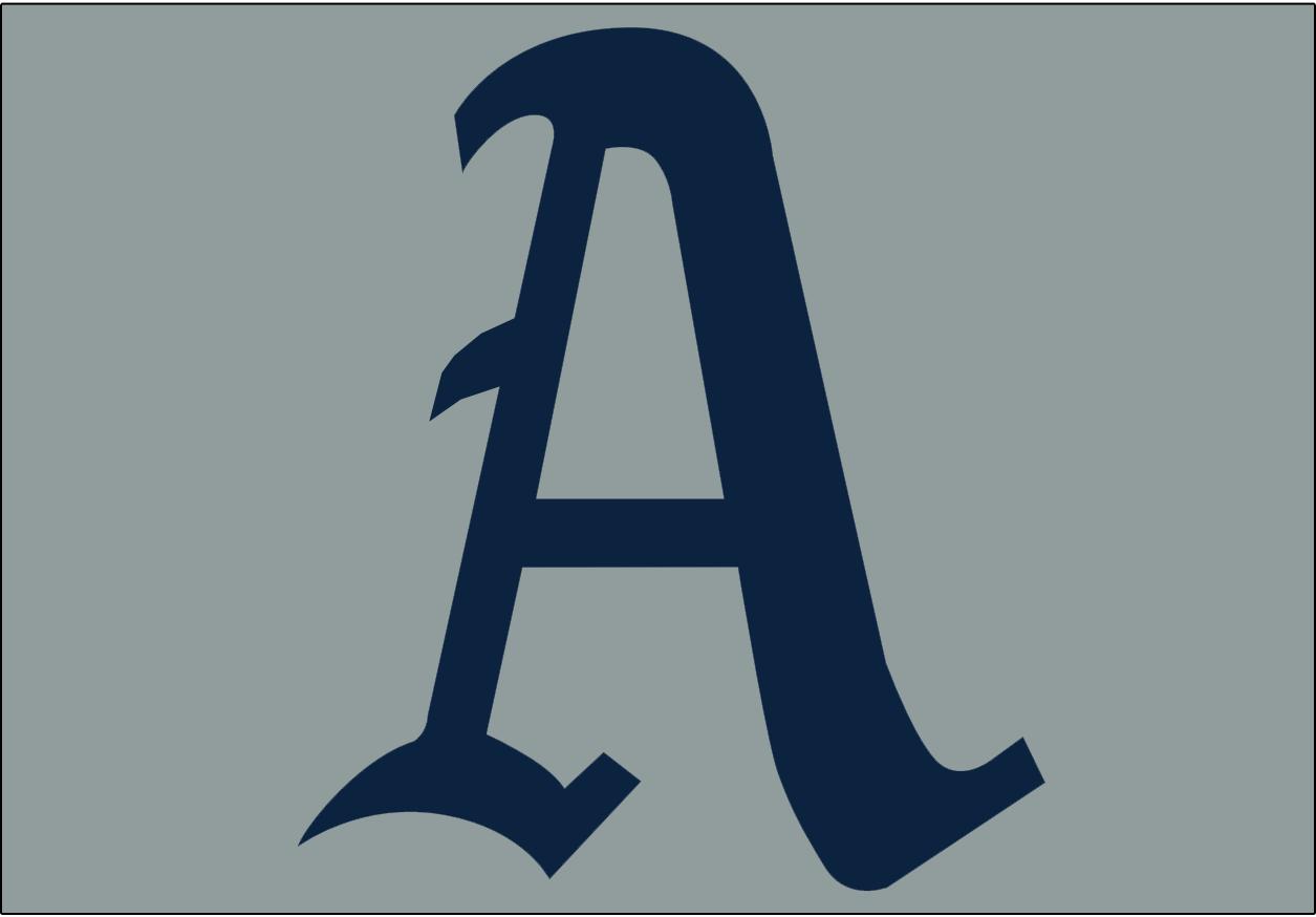 Philadelphia Athletics Logo Jersey Logo (1951-1953) - A blue A on a grey background, worn on the Philadelphia Athletics road uniform from 1951-53 SportsLogos.Net