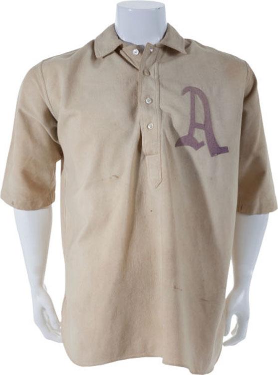 Philadelphia Athletics Game-Worn Jersey Photo Jersey Photo (1902-1913) - Game worn Philadelphia Athletics jersey, style used from 1902-1913 SportsLogos.Net
