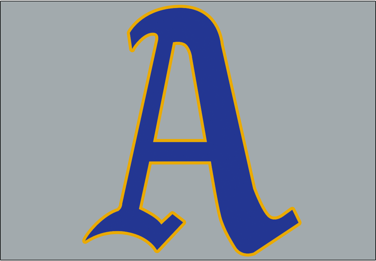 Philadelphia Athletics Logo Jersey Logo (1950) - A blue A with a gold outline on a grey background, worn on the front of the Athletics road jersey during the 1950 season -  gold was used to celebrate the golden 50th anniversary of manager Connie Mack's first season with the A's SportsLogos.Net