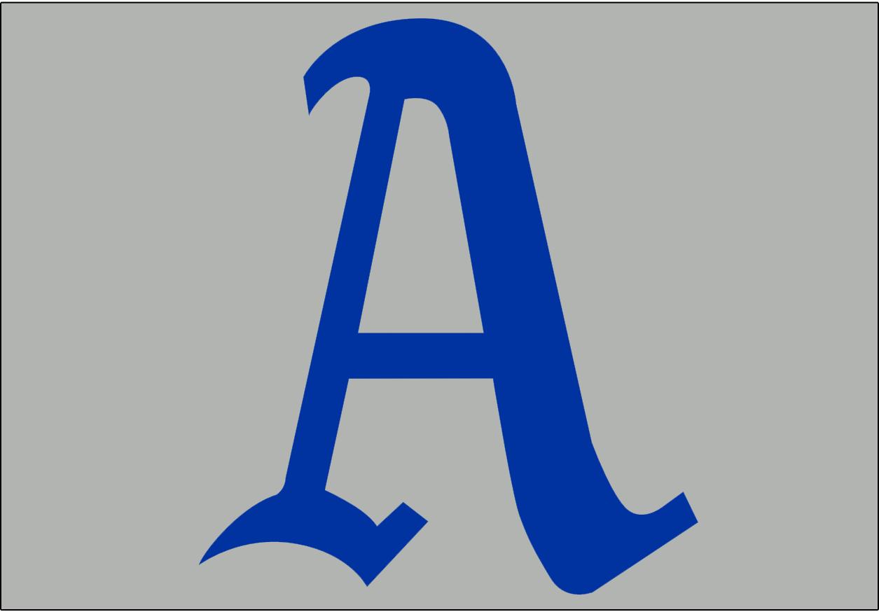 Philadelphia Athletics Logo Cap Logo (1929-1930) - A blue A on a grey background, worn on the Philadelphia A's road caps from 1929-1930 SportsLogos.Net