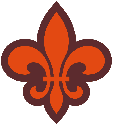St. Louis Browns Logo Alternate Logo (1945-1953) - An orange fleur-de-lis outlined in brown SportsLogos.Net