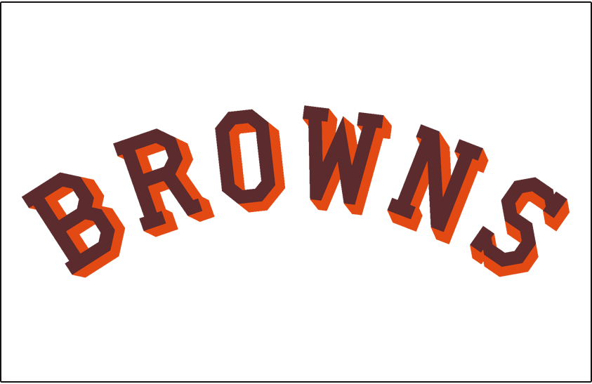 St. Louis Browns Logo Jersey Logo (1939-1951) - Browns in brown with orange drop shadow on white, worn on St Louis Browns home jersey from 1939 through 1951 SportsLogos.Net