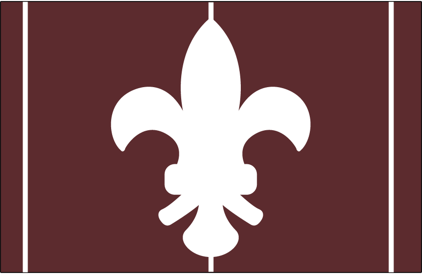 St. Louis Browns Logo Cap Logo (1908-1909) - A white fleur-de-lis symbol on a brown background with white vertical stripes. Worn as the St. Louis Browns road cap from 1908-1909 SportsLogos.Net