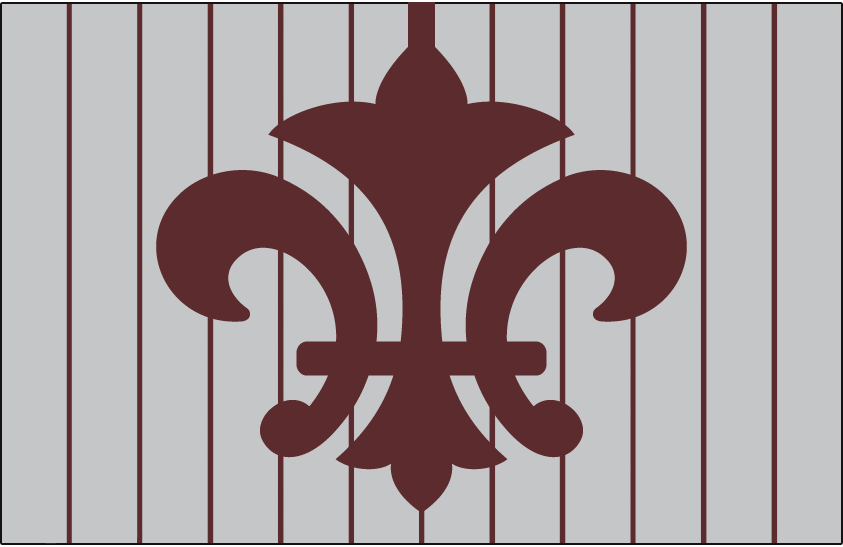 St. Louis Browns Logo Cap Logo (1910) - A brown fleur-de-lis symbol on a grey background with brown vertical stripes. Worn as the St. Louis Browns road cap in 1910 SportsLogos.Net