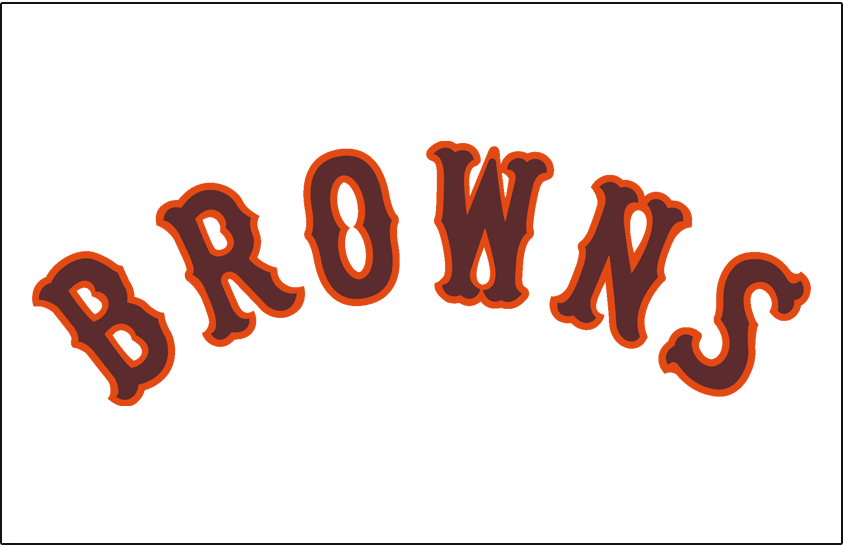 St. Louis Browns Logo Jersey Logo (1934-1936) - Browns arched in brown and orange on white, worn on Browns home jersey from 1934 until 1936, and again in 1938  SportsLogos.Net