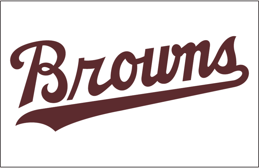 St. Louis Browns Logo Jersey Logo (1952-1953) - Browns in brown script worn on Browns home jersey in 1952 and 1953 SportsLogos.Net