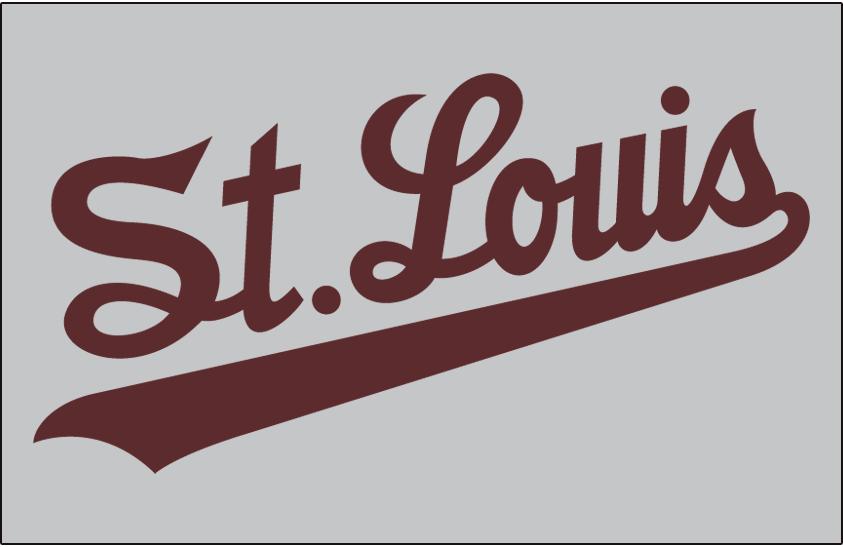 St. Louis Browns Logo Jersey Logo (1952-1953) - St Louis in brown script worn on Browns road jersey in 1952 and 1953 SportsLogos.Net