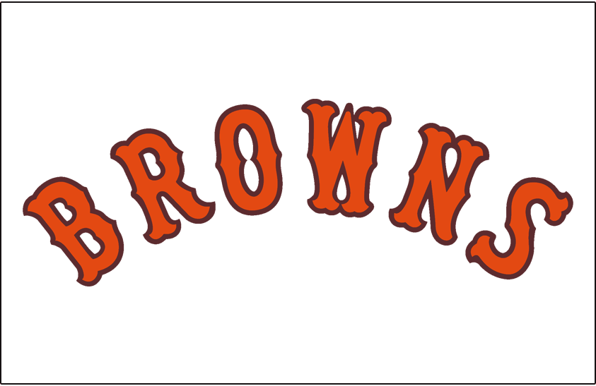 St. Louis Browns Logo Jersey Logo (1937) - Browns arched in orange and brown on white, worn on Browns home jersey in 1937 SportsLogos.Net