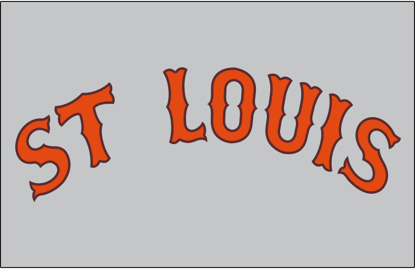 St. Louis Browns Logo Jersey Logo (1937) - St Louis arched in orange and brown on grey, worn on Browns road jersey in 1937 SportsLogos.Net