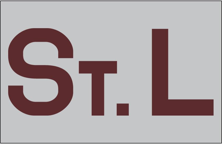 St. Louis Browns Logo Jersey Logo (1903) - An 'STL' in brown on grey, worn on the St Louis Browns road jersey in 1903 SportsLogos.Net