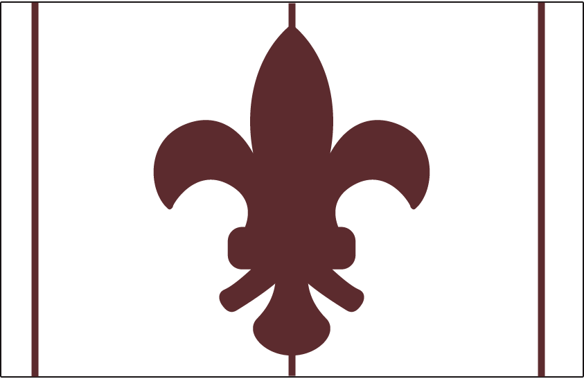 St. Louis Browns Logo Cap Logo (1908-1910) - A brown fleur-de-lis symbol on a white background with brown vertical stripes. Worn as the St. Louis Browns home cap from 1908-1910 SportsLogos.Net