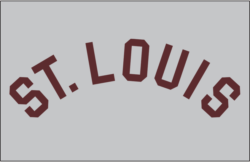 St. Louis Browns Logo Jersey Logo (1915) - St Louis arched in brown, worn on Browns road jersey in 1915 SportsLogos.Net