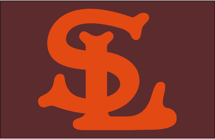 St. Louis Browns Logo Cap Logo (1934-1938) - An orange SL on brown, worn on Browns home and road cap from 1934 through 1938 SportsLogos.Net