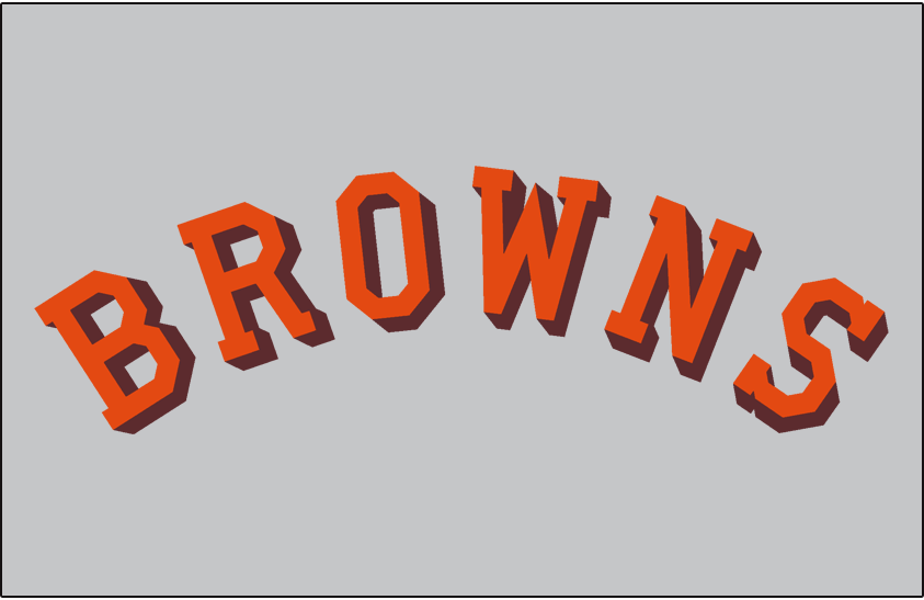 St. Louis Browns Logo Jersey Logo (1946-1951) - Browns arched in orange with a brown drop shadow on grey, worn on Browns road jersey from 1946 to 1951 SportsLogos.Net